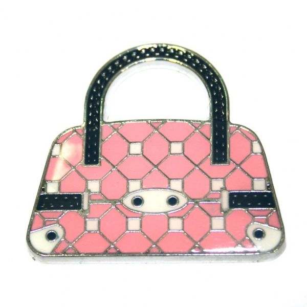 1 x 39*38mm rhodium plated dark pink handbag with checks enamel charm - SD03 - CHE1228